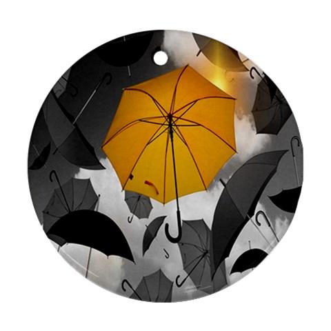 Umbrella Yellow Black White Round Ornament (Two Sides)