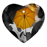 Umbrella Yellow Black White Heart Ornament (2 Sides) Front