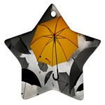 Umbrella Yellow Black White Star Ornament (Two Sides)  Back