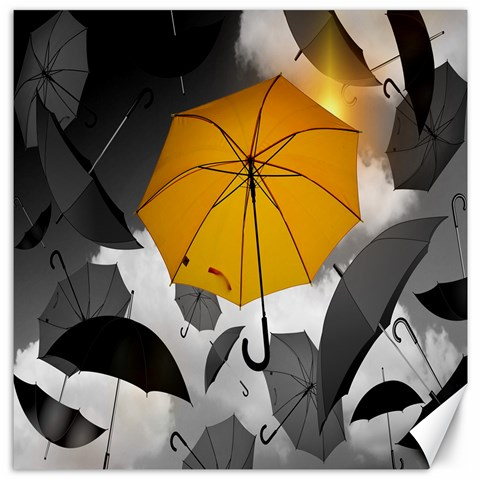 Umbrella Yellow Black White Canvas 20  x 20