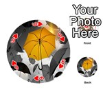 Umbrella Yellow Black White Playing Cards 54 (Round)  Front - Heart6