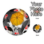 Umbrella Yellow Black White Playing Cards 54 (Round)  Front - Heart8
