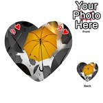 Umbrella Yellow Black White Playing Cards 54 (Heart)  Front - Heart9