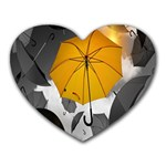 Umbrella Yellow Black White Heart Mousepads Front