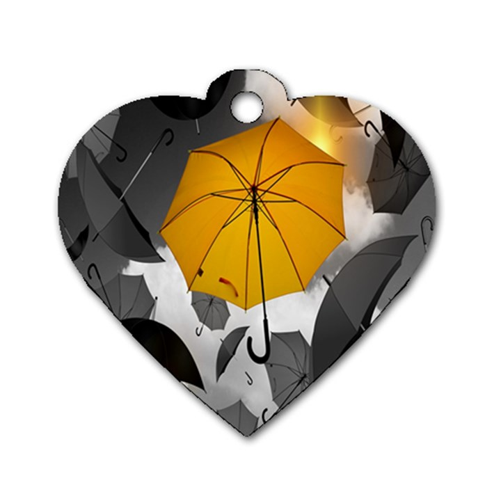 Umbrella Yellow Black White Dog Tag Heart (One Side)