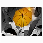 Umbrella Yellow Black White Large Glasses Cloth (2-Side) Front