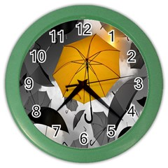 Umbrella Yellow Black White Color Wall Clocks