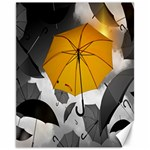 Umbrella Yellow Black White Canvas 11  x 14   14 x11 Canvas - 1