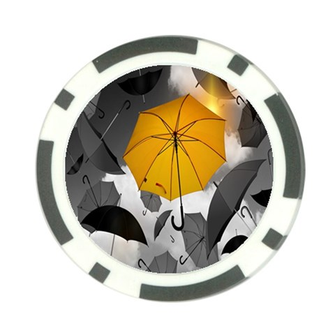Umbrella Yellow Black White Poker Chip Card Guards