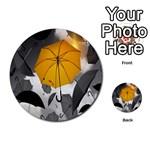 Umbrella Yellow Black White Multi-purpose Cards (Round)  Front 2