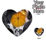 Umbrella Yellow Black White Multi-purpose Cards (Heart)  Back 35
