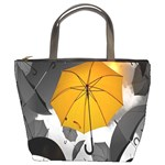 Umbrella Yellow Black White Bucket Bags Front