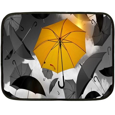 Umbrella Yellow Black White Fleece Blanket (Mini)