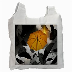 Umbrella Yellow Black White Recycle Bag (One Side)