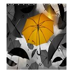 Umbrella Yellow Black White Shower Curtain 66  x 72  (Large)  58.75 x64.8 Curtain