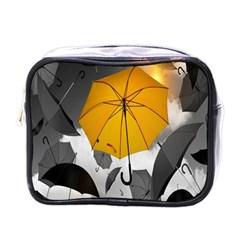Umbrella Yellow Black White Mini Toiletries Bags
