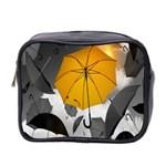 Umbrella Yellow Black White Mini Toiletries Bag 2-Side Front