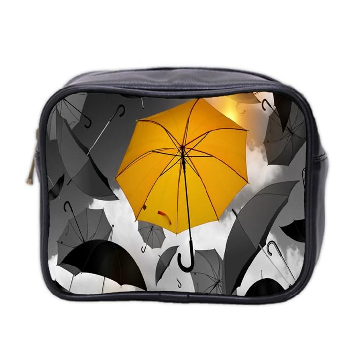 Umbrella Yellow Black White Mini Toiletries Bag 2-Side