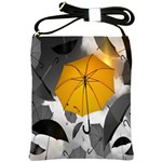 Umbrella Yellow Black White Shoulder Sling Bags Front
