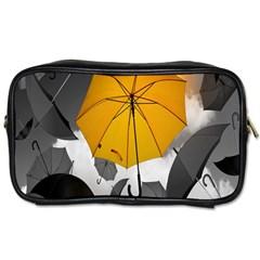 Umbrella Yellow Black White Toiletries Bags