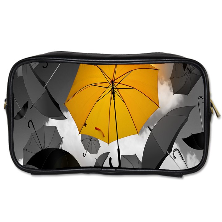 Umbrella Yellow Black White Toiletries Bags 2-Side