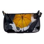 Umbrella Yellow Black White Shoulder Clutch Bags Front