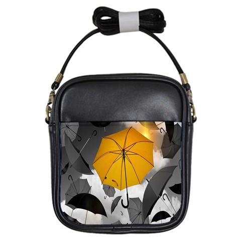 Umbrella Yellow Black White Girls Sling Bags