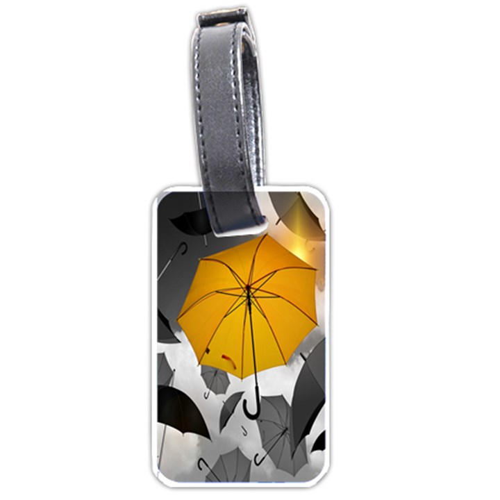 Umbrella Yellow Black White Luggage Tags (One Side)