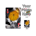 Umbrella Yellow Black White Playing Cards 54 (Mini)  Front - Heart9