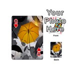 Umbrella Yellow Black White Playing Cards 54 (Mini)  Front - HeartQ