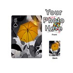 Umbrella Yellow Black White Playing Cards 54 (Mini)  Front - Spade6
