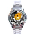Umbrella Yellow Black White Stainless Steel Analogue Watch Front