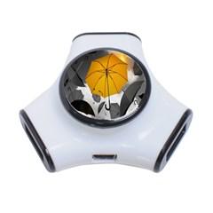 Umbrella Yellow Black White 3-Port USB Hub