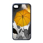 Umbrella Yellow Black White Apple iPhone 4 Case (Black) Front