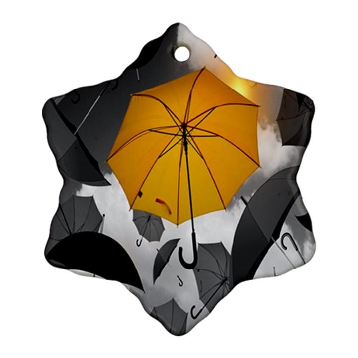 Umbrella Yellow Black White Ornament (Snowflake)