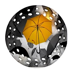Umbrella Yellow Black White Round Filigree Ornament (2Side)