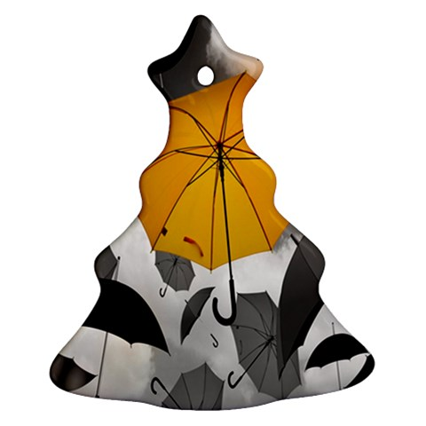 Umbrella Yellow Black White Christmas Tree Ornament (2 Sides)
