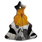 Umbrella Yellow Black White Christmas Tree Ornament (2 Sides) Front
