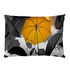 Umbrella Yellow Black White Pillow Case (Two Sides)