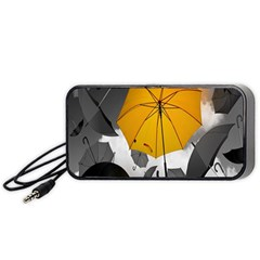 Umbrella Yellow Black White Portable Speaker (Black)