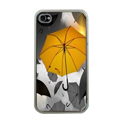 Umbrella Yellow Black White Apple iPhone 4 Case (Clear)