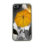 Umbrella Yellow Black White Apple iPhone 4 Case (Clear) Front