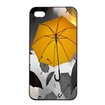 Umbrella Yellow Black White Apple iPhone 4/4s Seamless Case (Black) Front