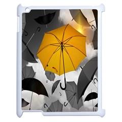 Umbrella Yellow Black White Apple iPad 2 Case (White)