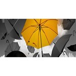 Umbrella Yellow Black White Happy Birthday 3D Greeting Card (8x4) Front