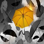 Umbrella Yellow Black White PARTY 3D Greeting Card (8x4) Inside