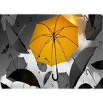 Umbrella Yellow Black White TAKE CARE 3D Greeting Card (7x5) Front