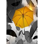 Umbrella Yellow Black White Get Well 3D Greeting Card (7x5) Inside