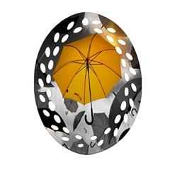Umbrella Yellow Black White Oval Filigree Ornament (2-Side)