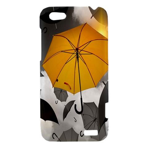 Umbrella Yellow Black White HTC One V Hardshell Case